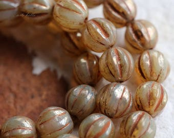 CASHMERE MELON .. NEW 25 Picasso Czech Melon Beads 6mm (5782-st)