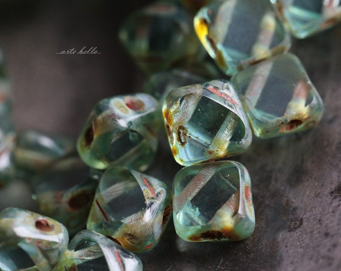 AQUA SQUARES .. 25 Picasso Glass Silky Tile Square Beads 6mm (5610-st)