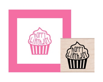 NEW for 2017 Cupcake Happy Birthday Rubber Stamp