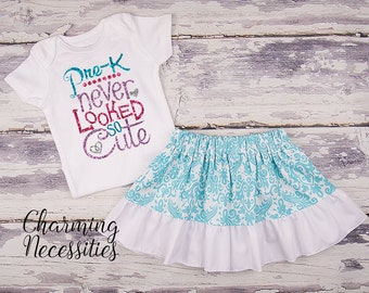 Back To School Outfit, Toddler Girl Clothes, Glitter Top Twirl Skirt, Pre-K Never Looked So Cute Aqua Damask Charming Necessities