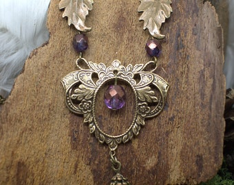 """Necklace """"Crainn"""" Eternal Forests Trees, Purple Bronze, brass fire polished beads, Elven forest"""