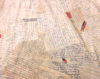 Vintage Love Letter Fabric - WWII Sweetheart Correspondence, Fountain Pen Script Handwriting, Quilting Fabric, Vintage Fabric Inspired