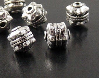 Bead Spacer 12 Antique Silver Round Cube Tube Barrel Victorian 10mm NF (1046spa10s1)