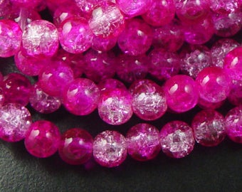 CLEARANCE Glass Bead 100 Round 8mm Hot Pink Fuchsia Crackle Transparent (1028gla08m1-24)os