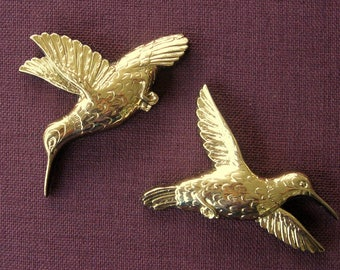 Homco Hummingbird Pair Vintage 1985 Shiny Gold Pattern Number 7889