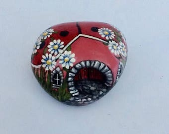 PINK LADYBUG HOUSE a hand painted rock art miniature stone cottage for the garden
