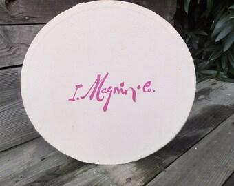 Vintage I. Magnin Co Hat Box, Hot Pink and light Pink Ladies Hat Box, Hat Box, Storage Box