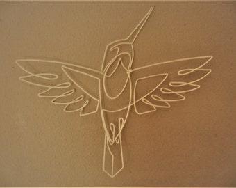 Wire Hummingbird in white
