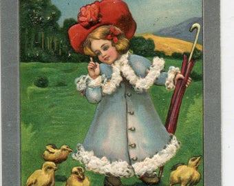 Girl, chicks Merry Easter Vintage Postcard, antique postcard