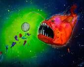 "Angler Fish Art - Fish Art Print - Disco Ball - ""Disco Angler"" by Far Out Arts"