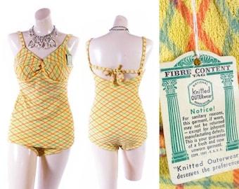 40% OFF SALE Vintage NOS 30s Swimsuit // 1930s Swimsuit // 40s Swimsuit // 1940s Swimsuit // Knit Swimsuit // Terry Cloth Swimsuit - sz S