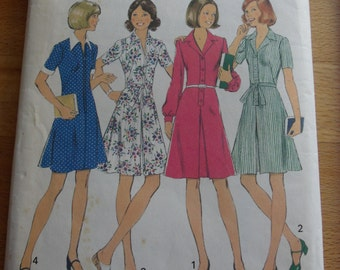 "1975 Dress - 34"" Bust - Simplicity 6837 - Vintage Retro 1970s Sewing Pattern"