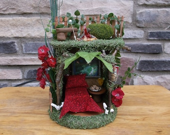 Fairy pixie play house smores over an open fire with LED Lights
