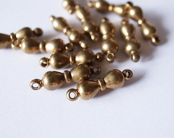 20 pieces of vintage solid raw brass round bow shape bead 17x5mm