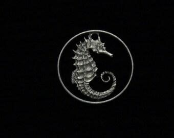 SINGAPORE - Cut Coin Pendant - Seahorse - 1971