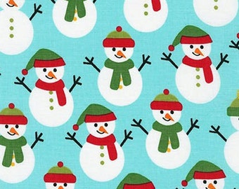 Two (2) Yards -Jingle 4 Christmas Holiday Snowman by Robert Kaufman Fabrics AAK-15913-70 Aqua