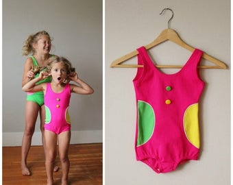 25% OFF SALE NOS, 1960s Confetti Dot Swimsuit >>> Girls Size 5t/6 or 10/12