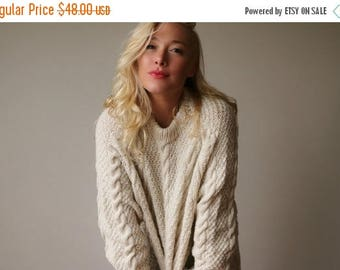 SPRING SALE 1980s Fishermans Cable Knit Sweater~Size Small to Extra Large