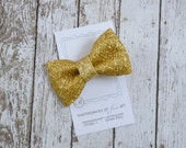 Gold Glitter Hair Bow - gold hairbow clippie - everyday or Christmas holiday hair clip - perfect for photos - hair bow with non slip grip