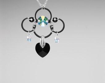 Swarovski Crystal Necklace, Industrial Jewelry, Crystal Pendant, Statement Necklace, Crystal ab, Space Jewelry, Wire Wrapped, Earth v12