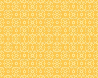 Summer Song 2 ~ Yellow Damask Print ~ Tone on Tone Blender Fabric ~ Zoe Pearn for Riley Blake ~ Woven Cotton by the Yard