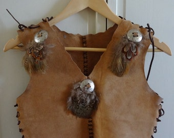 Childs Suede Vest. Western Vest. Pheasant Feathers. Handmade. Leather