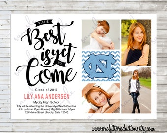 The Best is Yet to Come four photo graduation party announcement - digital file
