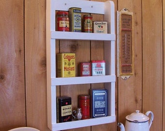 Space Saver Spice Rack Three Shelf Farmhouse Kitchen Storage / Clean White Aged Finish / Color Choice