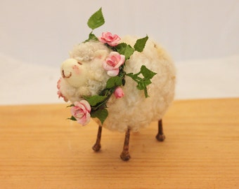 Sheep Little White Sheep Prim Needle Felted Sheep # 2334
