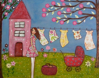 Whimsical Laundry Day Painting Art Print Block