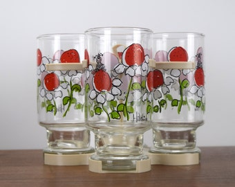 Hildi Drinking Glasses Set of 4 With Caddy by Anchor Hocking Glass Red Flowers and Bug