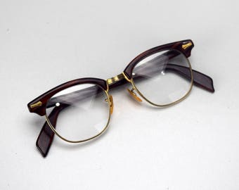 RESERVED Vintage 1950s Shuron Browline Eyeglasses 1/10 12K GF Gold FIlled Glasses Frames