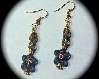 Czech Glass Flowers Long Dangle Fashion Earrings for Every Day Wear boho gypsy native cottage chic hippie victorian spring summer