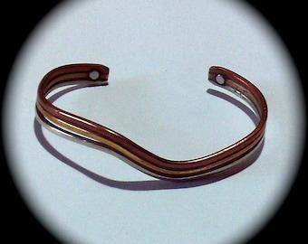 Vintage Copper Silver Gold Sergio Lub Cuff Bracelet vintage bracelet victorian fashion classic elegant