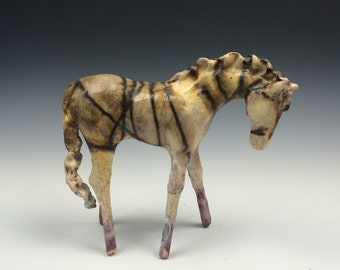 Striped Horsehair Raku Horse 619