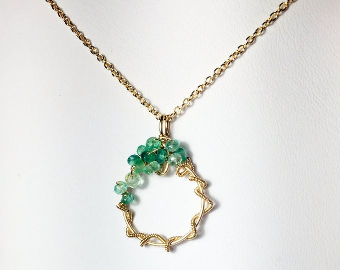 Featured listing image: 25% OFF Emerald Wire Wrapped Pendant, Gold Fill Gemstone Necklace, Wire Work, Spring Collection