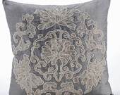 "Luxury Grey Decorative Cushion Covers, 16""x16"" Silk Pillowcase, Square Zardosi Embroidery Pillow Cover - Ottomon Dome"