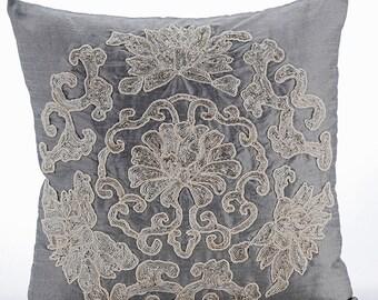 "Luxury Grey Decorative Cushion Covers, 16""x16"" Silk Pillowcase, Square Zardosi Embroidery Pillow Cover - Ottomon Dome"