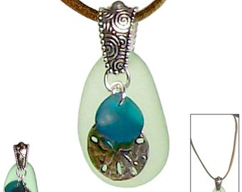 MERZIEs sea glass green focal sand dollar & freeform teal pebble charms 42x21mm pendant necklace - SHIPs from USA