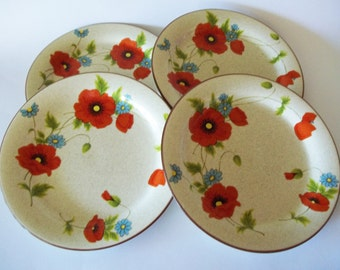 Mikasa Poppy Parade Dinner Plates, Red Poppies Floral, Stylemanor Line, Set of 4, Japan, 1970s