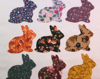 "Set of 9 Large 6"" Bunny Rabbits  Iron-on Cotton Fabric Appliques for Quilts & Apparel Etc"