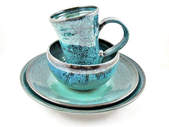 Dinnerware place setting, 4 piece stoneware place setting, teal blue ceramics and pottery dinnerware- In stock (A)