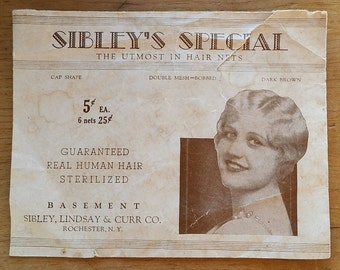1920s Flapper Hair Net, Dark Brown, Sibleys Basement Rochester NY  Vanity Collectible, Bobbed Human Hair, Vintage Advertising