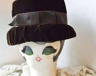 Brown Velvet Hat 1950s basket shape , big ribbon bow trim,  womens vintage accessory