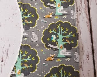 Forest friends with chenille  burp cloth