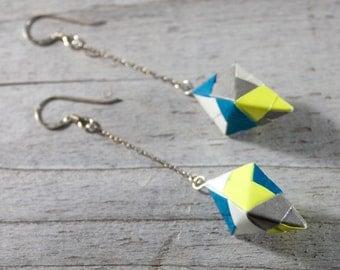 Handmade Origami Earrings, Modular, folded paper, custom earrings, gift, paper art, asian, japanese, custom, dangle, sterling silver