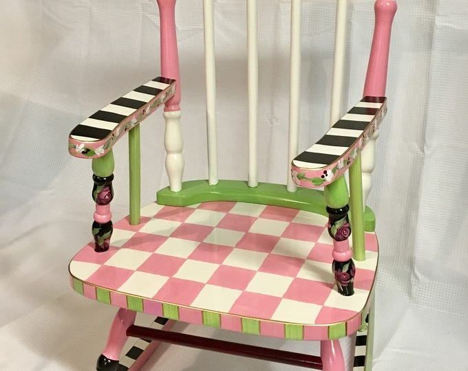 Whimsical Painted Furniture, Youth Rocking Chair // Painted Rocking Chair // Child Rocking Chair