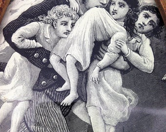 Vintage Oval Picture of a Father Saving His Children From a Fire
