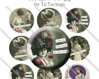 Vintage Wine and Women Sayings Bottle Cap Digital Altered Art Collage Set 1 Inch Circle 4x6 - Instant Download - BC567