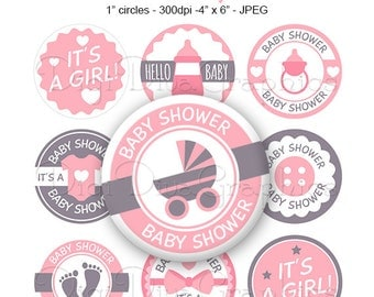 It's A Girl Baby Shower Bottle Cap Images Pink 1 Inch Circles Digital JPG - Instant Download - BC1156